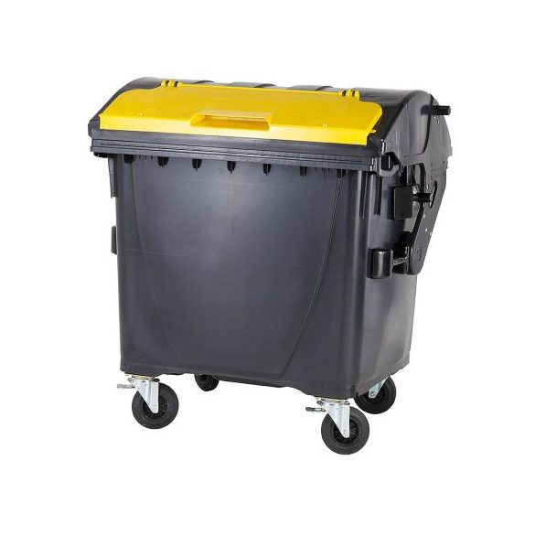 1 100 L-es nagyméretű szeméttároló íves tetejű konténer külön nyitható kisfedéllel