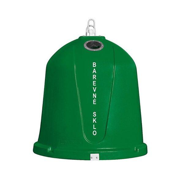 1 500 L-es polietilén műanyag, színes üveg szelektívgyűjtő konténer