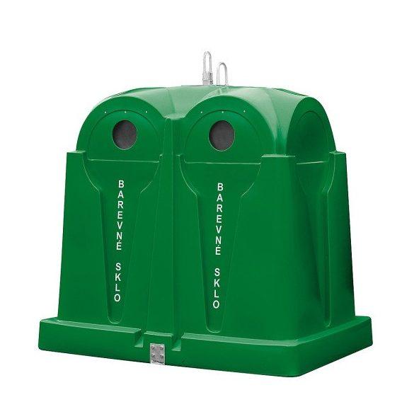 2 500 L-es polietilén, színes üveg szelektívgyűjtő konténer