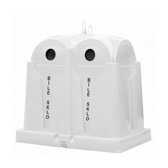 2 500 L-es polietilén, fehér üveg szelektívgyűjtő konténer