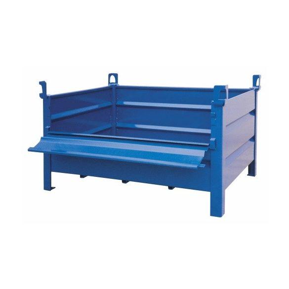 Daruzható fém konténer lehajtható ajtóval 1200x800x600 mm t.b. 1000 kg