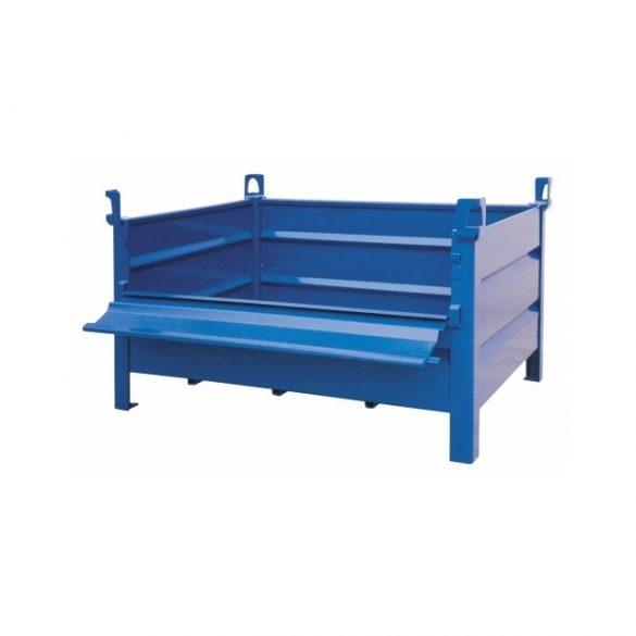 Daruzható fém konténer lehajtható ajtóval 800x600x600 mm t.b. 750 kg