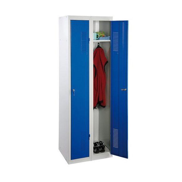 Összeszerelhető öltözőszekrény-szürke/kék, 2 ajtó