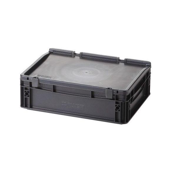 Műanyag tároló doboz fedéllel 400x300x135 mm