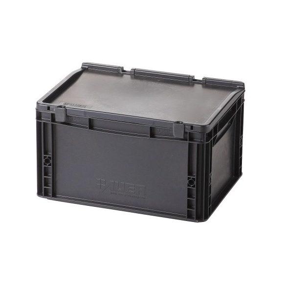 Műanyag tároló doboz fedéllel 400x300x235 mm
