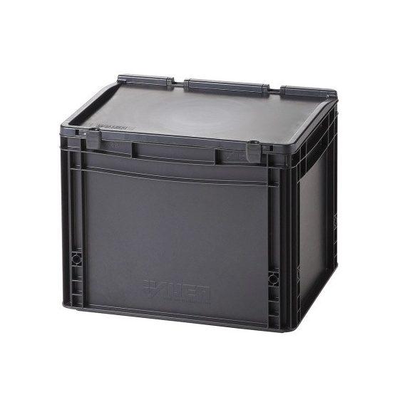 Műanyag tároló doboz fedéllel 400x300x335 mm
