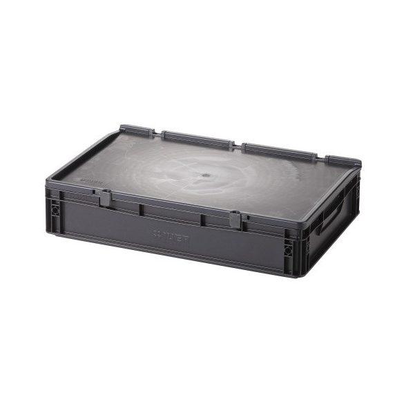 Műanyag tároló doboz fedéllel 600x400x135 mm