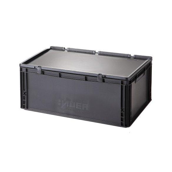 Műanyag tároló doboz fedéllel 600x400x235 mm