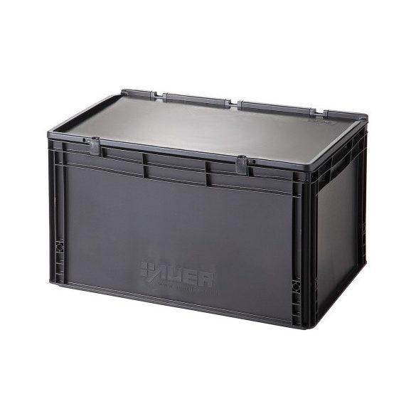 Műanyag tároló doboz fedéllel 600x400x335 mm