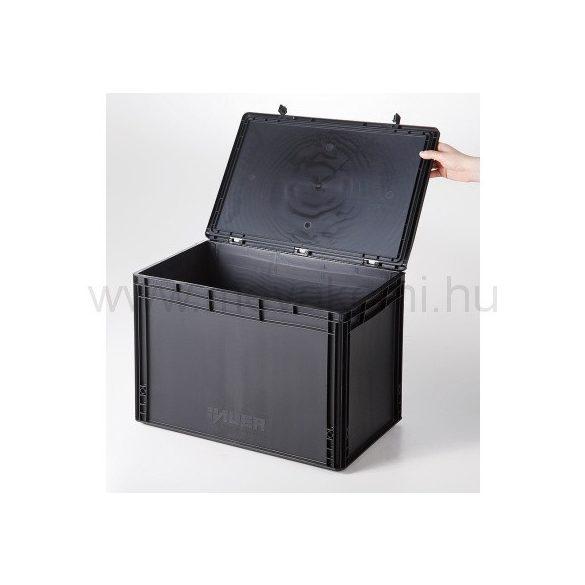Műanyag tároló doboz fedéllel 600x400x435 mm