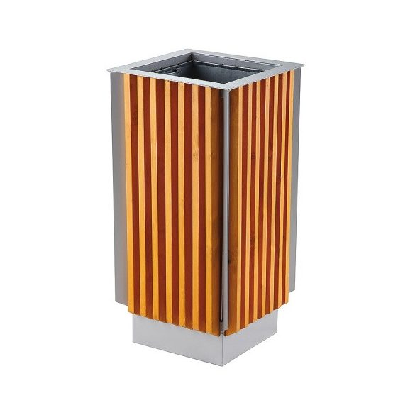 Fém-fa hulladékgyűjtő 65 l, 405x405x800 mm