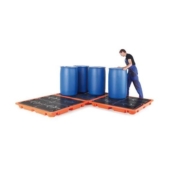 Gyűjtőkád négy 200 l hordó tárolására, 1400x1400x140 mm