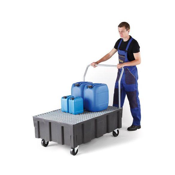 Kerekes műanyag gyűjtőkád, 805x1205x1040 mm, 250 L
