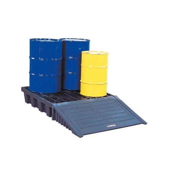 Műanyag gyűjtőkád négy hordó tárolására, 1245x1244x260 mm, 273 L