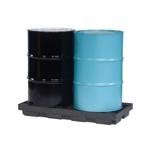 Műanyag gyűjtőpadló 2x200 literes hordóra, 635x1245x140 mm