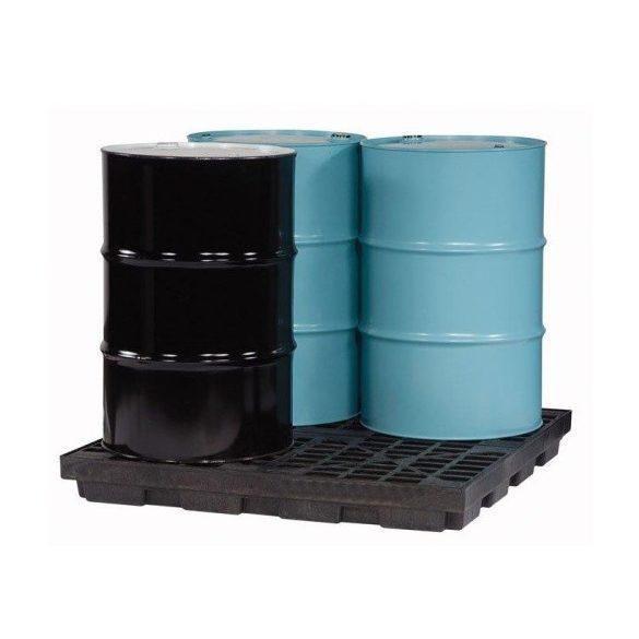 Műanyag gyűjtőpadló 4x200 literes hordóra, 1245x1245x140 mm