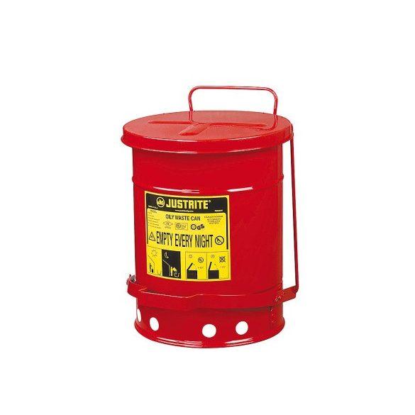 Justrite – Biztonsági pedálos hulladékgyűjtő 23 L, ø 302x403 mm