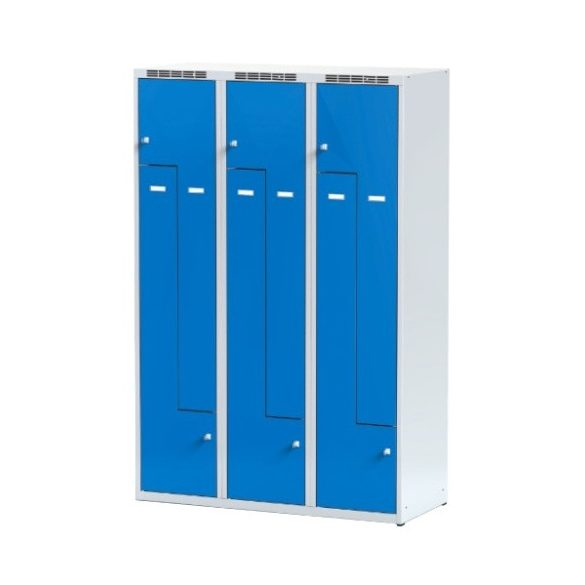 Öltözőszekrény-szürke/kék, 6 ajtós