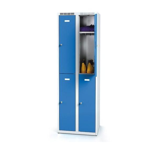 Öltözőszekrény-szürke/kék, 4 ajtós