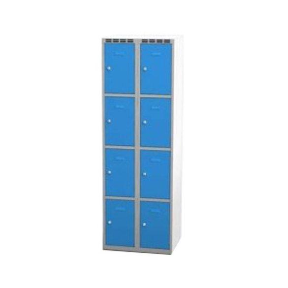 Öltözőszekrény-szürke/kék, 8 ajtós