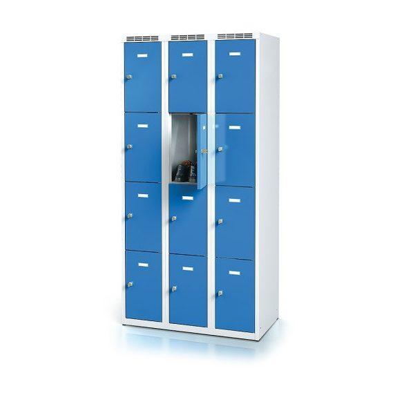 Öltözőszekrény-szürke/kék, 12 ajtós