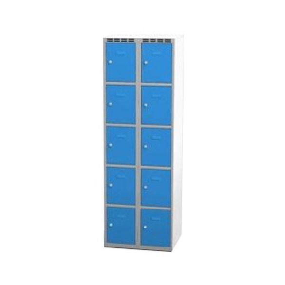 Öltözőszekrény-szürke/kék, 10 ajtós