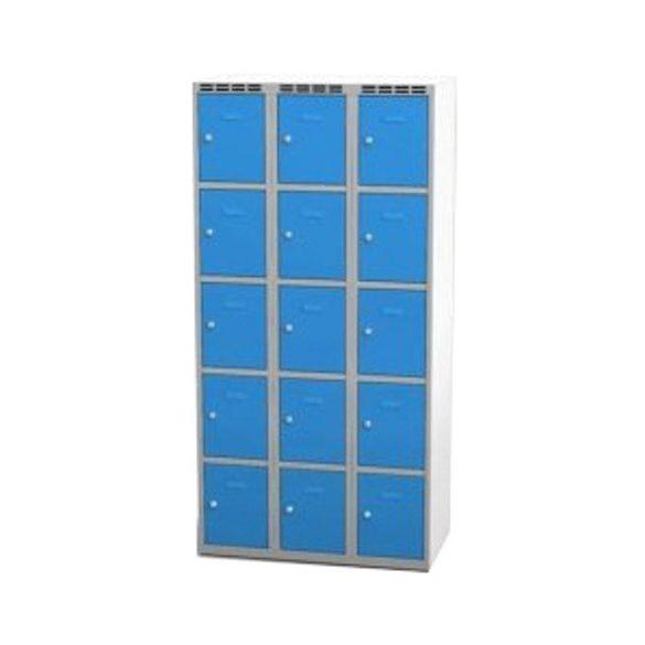Öltözőszekrény-szürke/kék, 15 ajtós