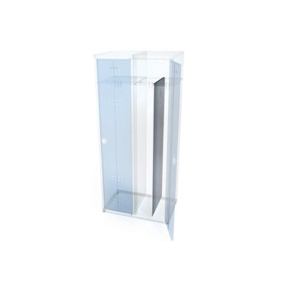 Öltöző szekrény rekeszekkel-szürke/kék, 2 ajtó