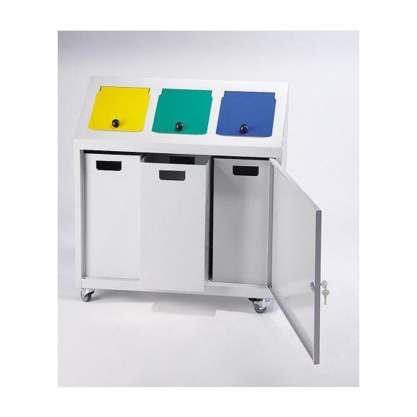 TRIPLE fém szelektív edény, 3 x 32 l, 800x300x875 mm