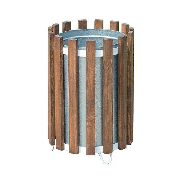 45 literes fém-fa kerek hulladéktároló, Ø 400x585 mm