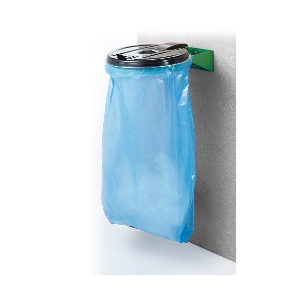 Műanyag fedelű falra szerelhető zsáktartó (120 l), 390x105 mm