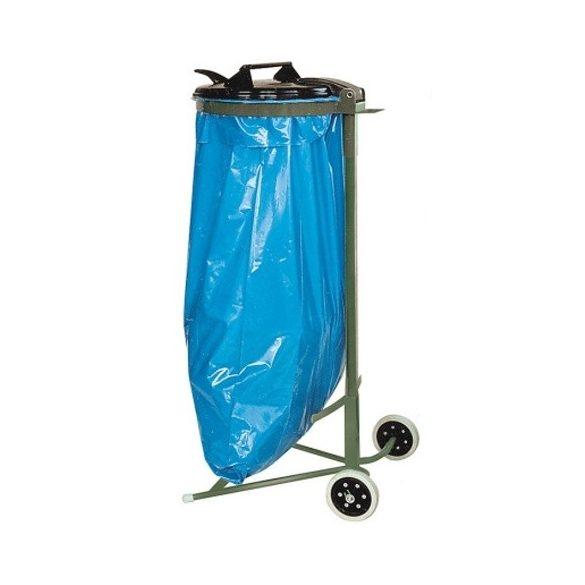 Műanyag fedelű mobil zsákállvány (120 l), 390x950 mm