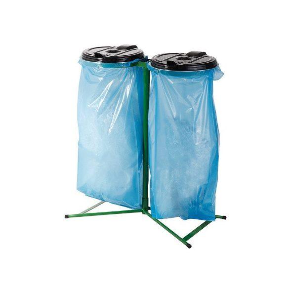 Műanyag fedelű kettős zsákállvány (2 x 120 l), 845x945 mm