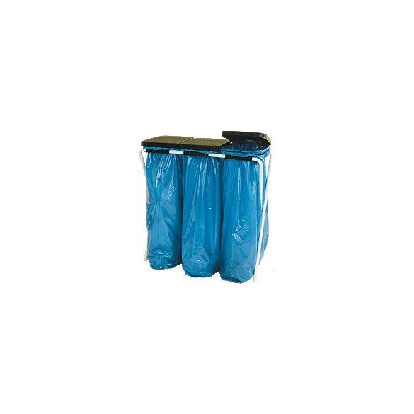 Műanyag fedelű trio zsákállvány (3 x 70 l), 820x760 mm