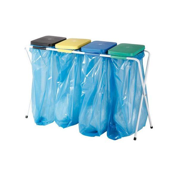 Műanyag fedelű osztott kvatro zsákállvány (4 x 70 L), 1180x760 mm