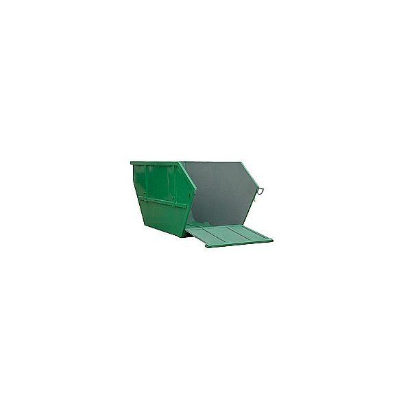 5,5 / 7 / 10 m³-es fém konténer, lehajtható hátfallal