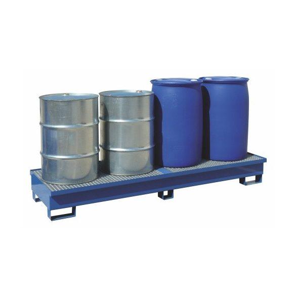 Gyűjtőkád acélráccsal, 4x200 l hordóra, 2500x800x150/250 mm, 270 L