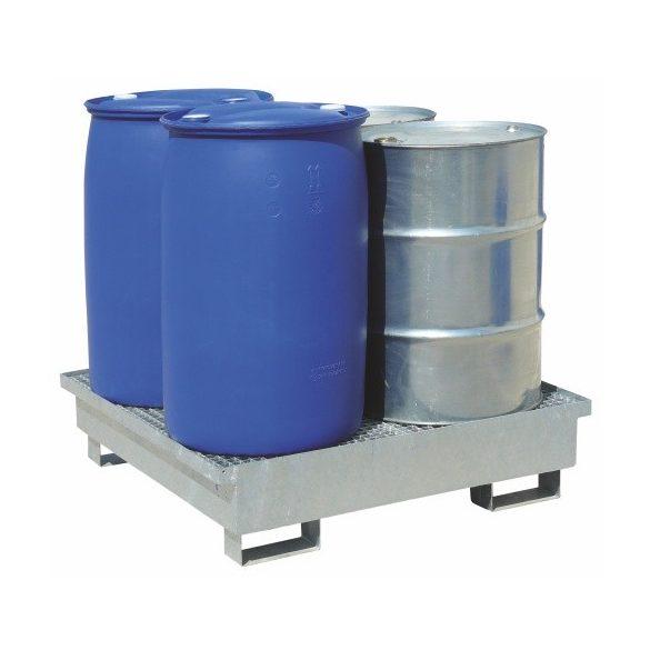 Gyűjtőkád acélráccsal, 220 L, 1200x1200x160/260 mm