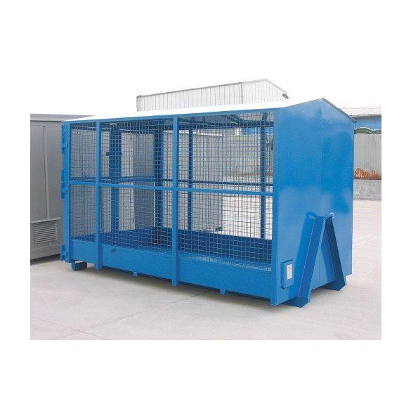 Sátortetős konténer, rácsos oldalfallal, 3335x1820x2000/21000 mm