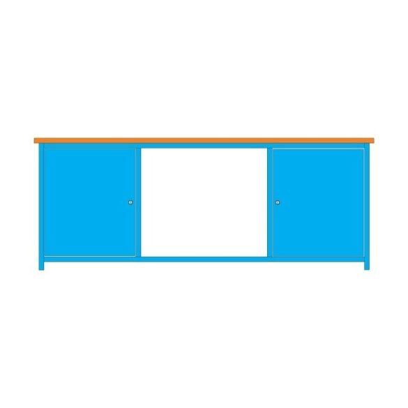 Munkaasztal acéllemezből, többféle méretben, 2 ajtóval