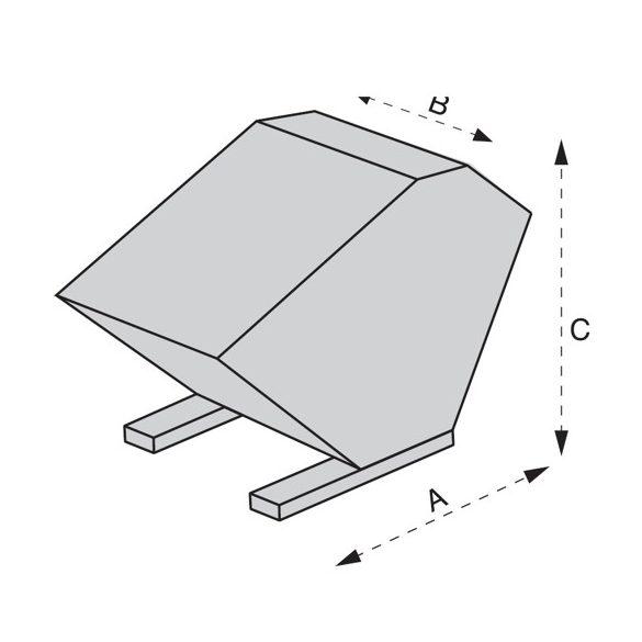"900 literes ""PROFI"" billenő konténer, 1650x1570x815/1055 mm"