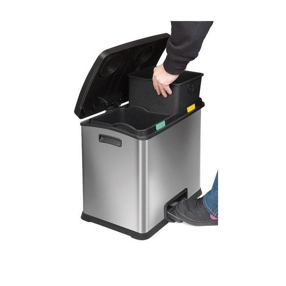Lábpedálos rozsdamentes szelektív hulladéktároló 2x 12 l, 405x382x430 mm