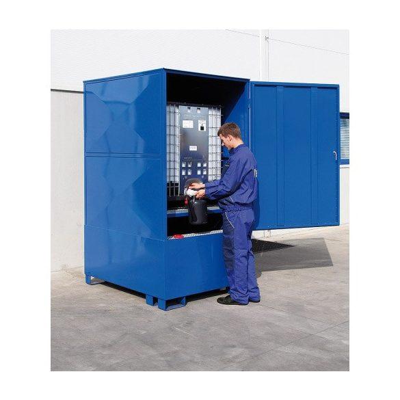 Zárt gyűjtőkád IBC tartályhoz, 1200x1520x2450 mm, 1000 L