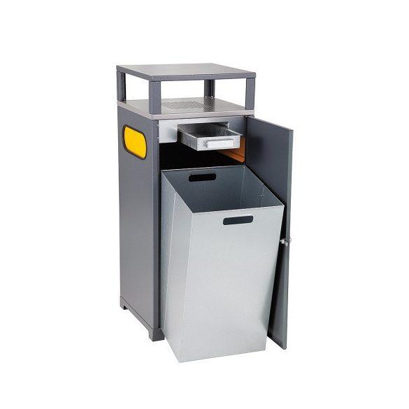 Hulladéktároló hamutartóval, 90 L, 450x450x950 mm