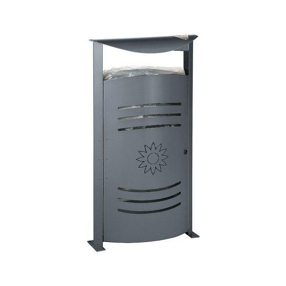 Ovális hulladéktároló hamutartóval, 50 L, 540x326x1060 mm