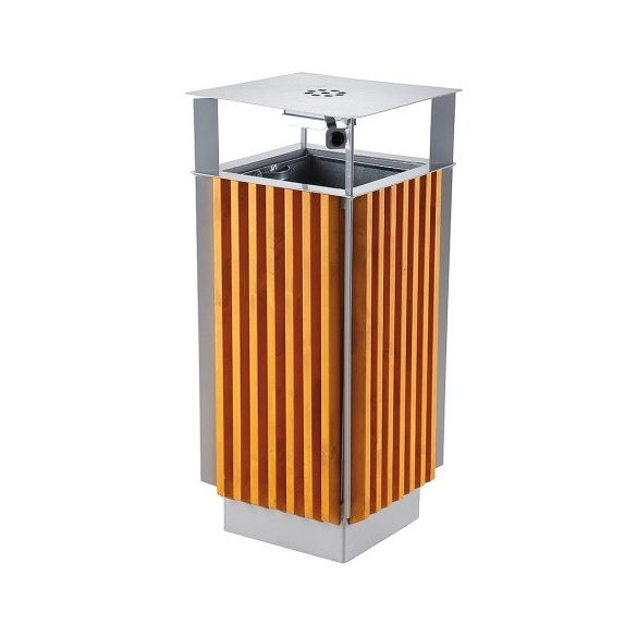 Fából készült hulladéktároló hamutartóval, 65 L, 410x410x940 mm