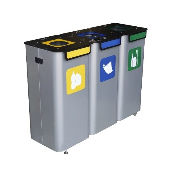 Hármas kültéri hulladékgyűjtő, 1050x350x720 mm