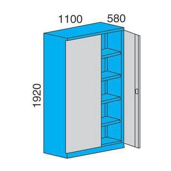 Fém műhelyszekrény, 1100x580x1920 mm