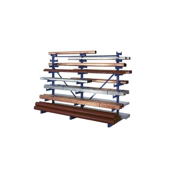 Állvány hosszú tárgyak tárolására, két oldalas, 5 állvány, 8 db tárolószint, 5000x1200x2000 mm