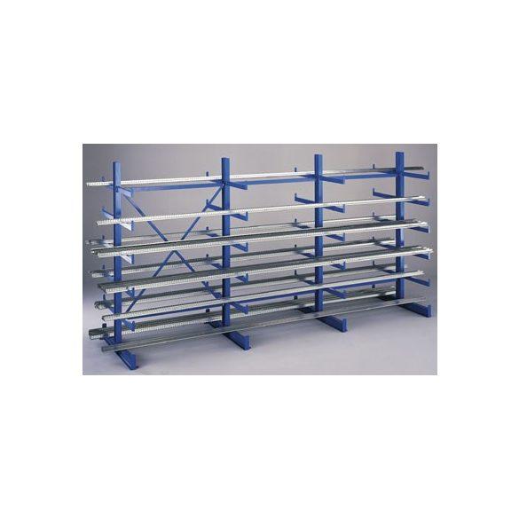 Konzolos állvány, két oldalas, 3 állvány, 5 db rakodószint/oldal, 2500x1115x2000 mm